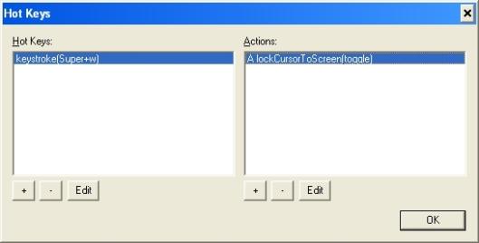 Hot Key Configuration Window
